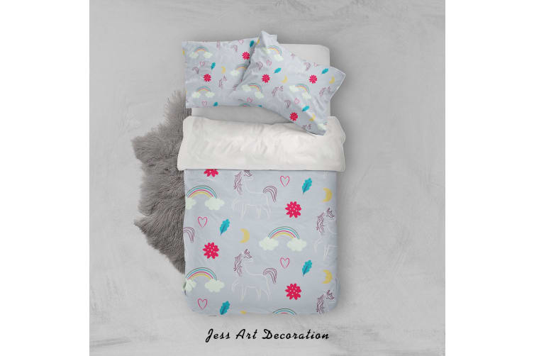 3D Grey Unicorn Rainbow Floral Quilt Cover Set Bedding Set Pillowcases 39-Queen