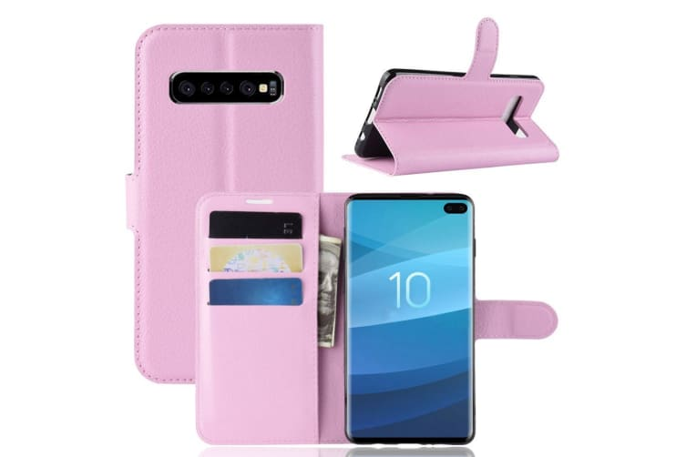 For Samsung Galaxy S10 5G Case  Wallet Leather Folio Flip Cover with Stand Pink