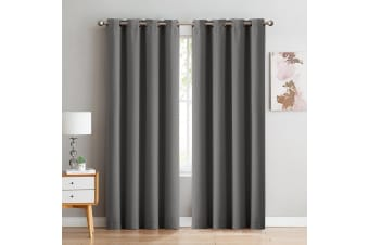 2x Blockout Curtains Panels 3 Layers Eyelet Room Darkening 240x230cm Charcoal