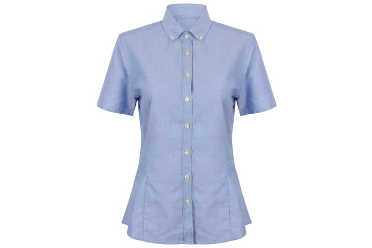 Henbury Womens/Ladies Modern Short Sleeve Oxford Shirt (Blue) (M)