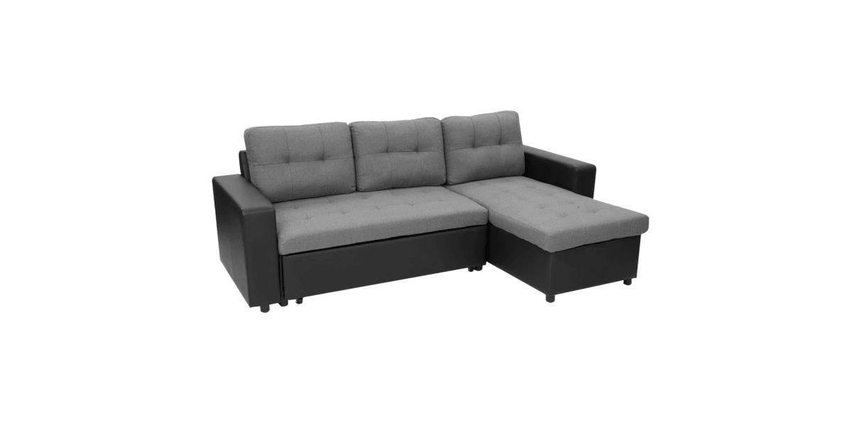 3 Seater Corner Sofa Bed With Storage Lounge Chaise Couch Black