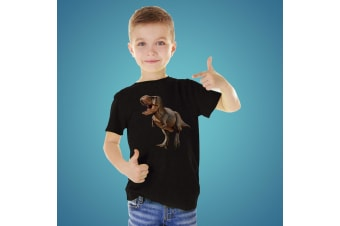 Kids T-Rex Dinosaur Unisex Cotton T-Shirt - Size 4