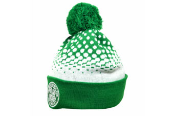 Celtic FC Adults Unisex Official Cuff Bobble Knitted Hat (Green/White)