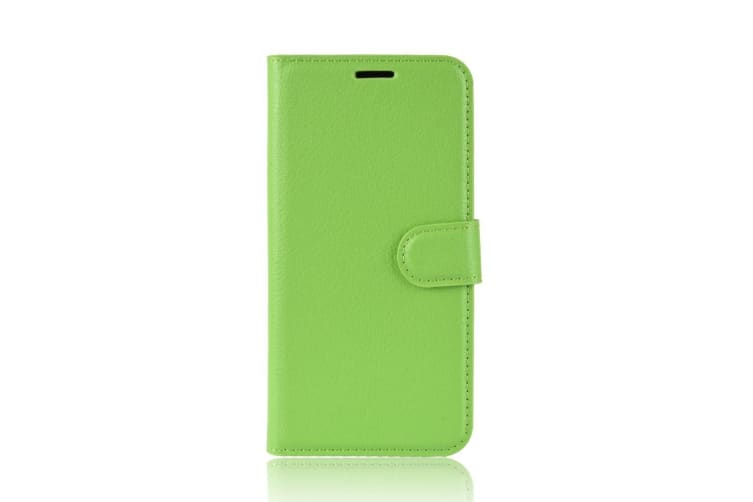 For Google Pixel 3 Leather Wallet Case Green Lychee Texture Cover Card Slots