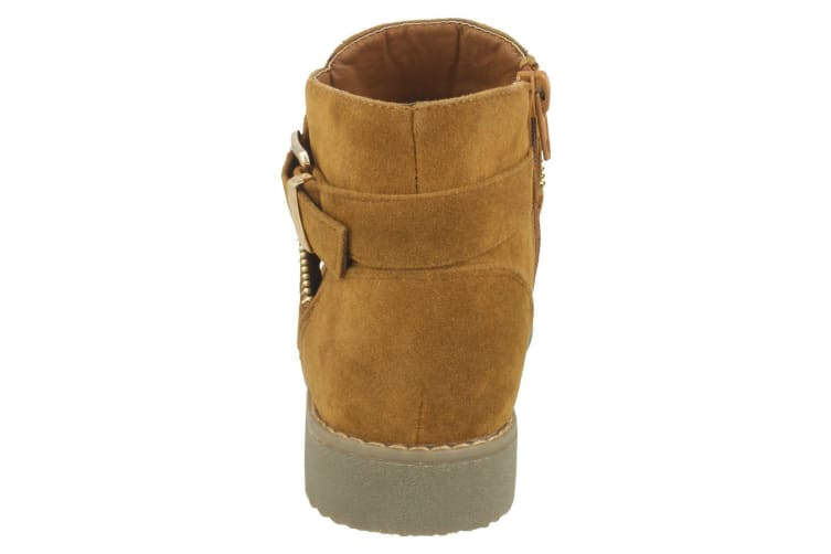 Spot On Girls Suede Ankle Boots (Tan) (UK Child 10)