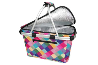 Sachi Collapsible Foldable Insulated Picnic Shopping Basket w  Lid Harlequin