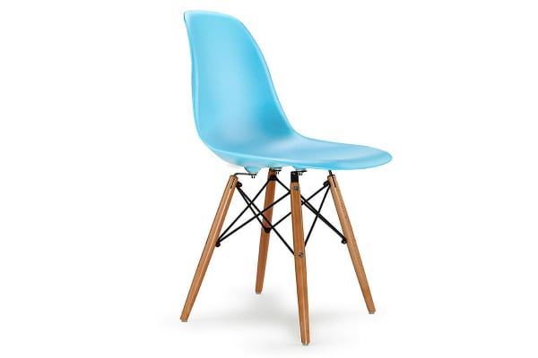 NEW! 4 x EAMES REPLICA RETRO Dining Chairs Eiffel DSW Kitchen Cafe Beech Blue