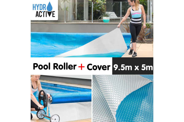 500micron Swimming Pool Roller Cover Combo - Silver/Blue - 9.5m x 5m