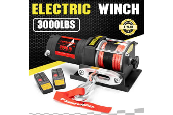 FIERYRED FIERYRED Wireless 3000LBS/1361KG 12V Electric Winch Synthetic Rope Boat ATV 4WD