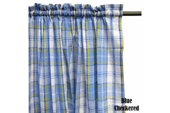 Pair of Polyester Cotton Rod Pocket Blue Checkered Curtains by Home Innovations