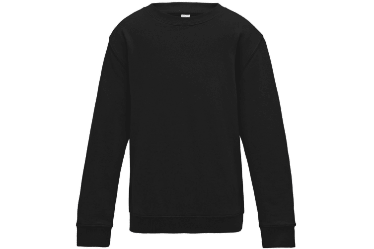 AWDis Just Hoods Childrens/Kids Plain Crew Neck Sweatshirt (Jet Black) (3-4 Years)