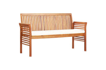 vidaXL 3-Seater Garden Bench with Cushion 150 cm Solid Acacia Wood