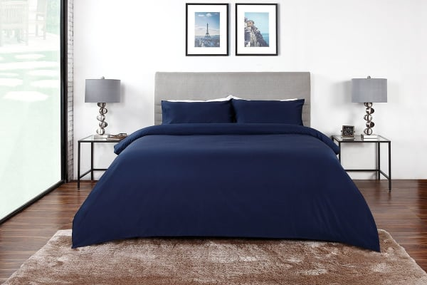 Ovela 600TC 70% Bamboo / 30% Cotton blend Quilt Cover Set (King, Indigo)