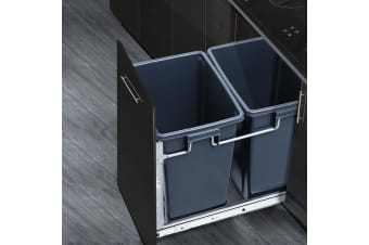 Devanti Pull Out Bin 2x 15L Dual Twin Bins Kitchen Grey Pantry Door Mount Rubbish Concealed In Cabinet Garbage