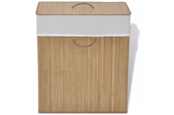 vidaXL Bamboo Laundry Bin Rectangular Natural