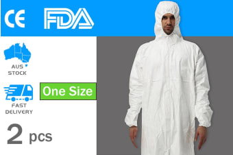2pcs Protective Suit Hooded Coverall Disposable Staff Clothing - One Size