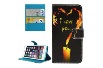 For iPhone 8 PLUS 7 PLUS Wallet Case Love Candle Durable Shielding Leather Cover