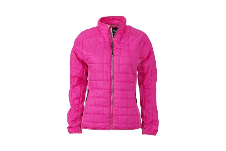 James and Nicholson Womens/Ladies Hybrid Jacket (Pink/Silver) (XXL)