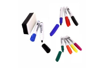 10 Whiteboard Marker Colours Accessories Kit with eraser Bullet and Fine tip pen
