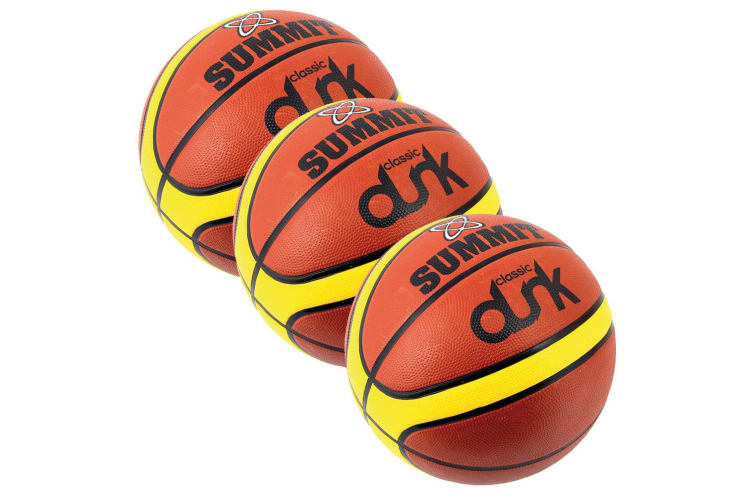 3x Summit Size 3 Classic Dunk Basketball Indoor/Outdoor Sport Rubber Ball Brown