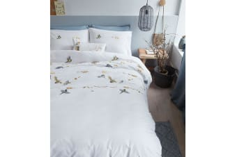 Autumn Birds Natural Cotton Percale Quilt Cover Set by Bedding House