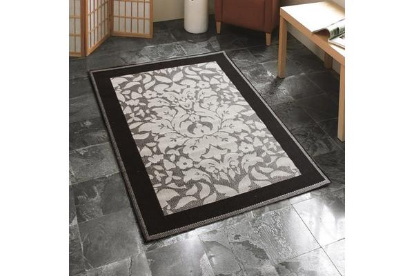 Indoor Outdoor Border Rug Grey Black 160x110cm