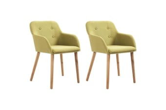 vidaXL Dining Chairs 2 pcs Green Fabric and Solid Oak Wood