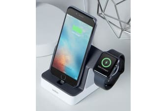 BELKIN POWERHOUSE CHARGE DOCK FOR APPLE WATCH &  IPHONE,WHITE, 2YR WTY