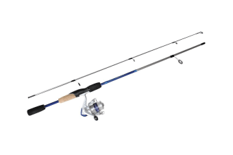 Blue 5'6 Okuma Steeler XP 2 Piece Fishing Rod and Reel Combo Spooled with Line