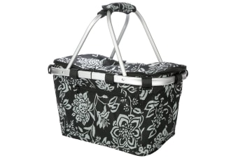 New Sachi Shop & Go Insulated Thermal Cooler Carry Basket W/Lid Camellia Black