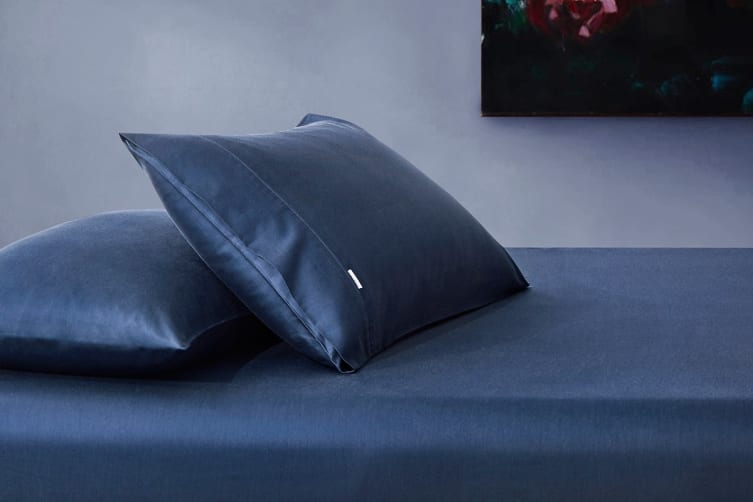 Gioia Casa 400TC Bamboo Cotton Fitted Sheet Combo (Navy Blue, Queen)