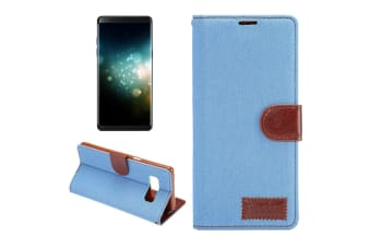 For Samsung Galaxy Note 8 Wallet Case Stylish Denim Leather Cover Baby Blue