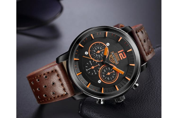 WJS Fashion Sports and Leisure Outdoor Watch Large Watch Breathable Strap Quartz Watch Suitable for Men-Brown