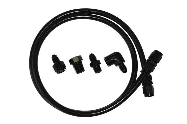 Aeroflow -4AN X 6Ft Black Braided Line Kit With Fittings Included