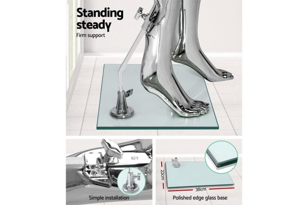 175cm Tall Full Body Chrome Female Mannequin - Silver