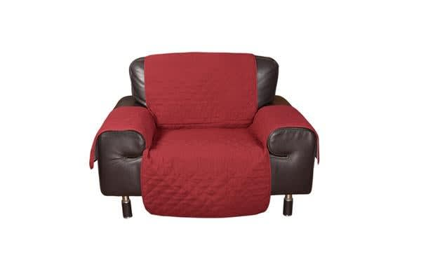 1 Seater Quilted Sofa Protector Throw Furniture Protector Cover BURGUNDY