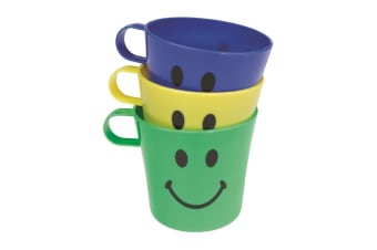 Chef Aid Plastic Cups (Pack Of 3) (Blue/Yellow/Green) (One Size)