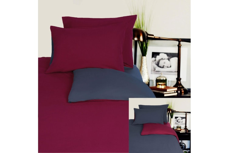 Reversible 100% Cotton JERSEY Quilt Cover Set Burgundy / Charcoal - DOUBLE