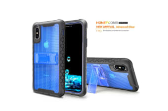 Blue Honeycomb For iPhone XS X Case Armour Phone Cover KickStand