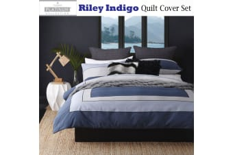 Riley Indigo Quilt Cover Set by Platinum Collection