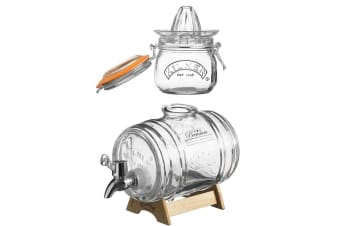 Kilner 500ml Glass Juicer Citrus Press w  1L Barrel Drink Beer Juice Dispenser