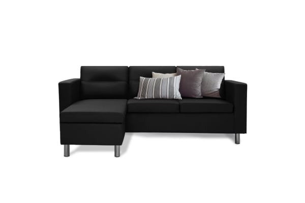 BIO DESIGN 3 Seater Sofa Set Lounge Suite Chaise Couch Faux Leather Black