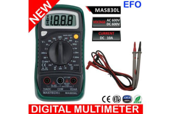 600V Cat Ii Handheld Digital Multimeter + Test Probes Large Backlit Lcd Mas830L