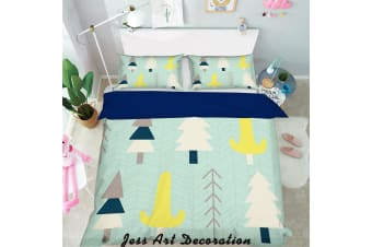 3D Cartoon Pine Pattern Green Background Quilt Cover Set Bedding Set Pillowcases  118-Single