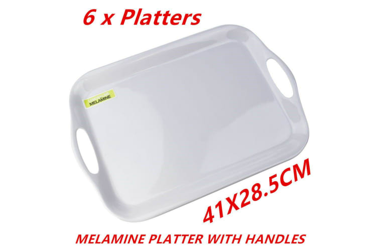 6 x Glossy White Rectangular Melamine Serving Trays w Handle Food Tray Platter 41CM