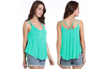 Womens Sexy V Neck Backless Strappy Tank Tops Workout Flowy Cami Blouse M