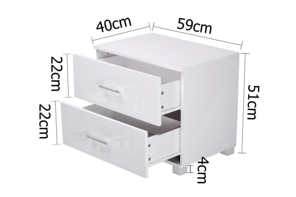Glossy Two Drawer Bedside Table (White)
