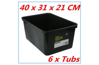 6 x 20L Heavy Duty BLACK Plastic Storage Tubs Crate Containers Boxes Tub Bin