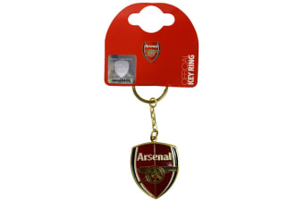 Arsenal FC Official Metal Football Crest Keyring (Red/Gold) (One Size)
