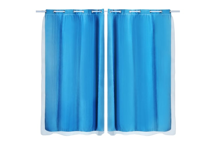 2x Blockout Curtains Panels 3 Layers with Gauze Room Darkening 240x230cm Navy  -  Navy Blue240X230cm (WxH)